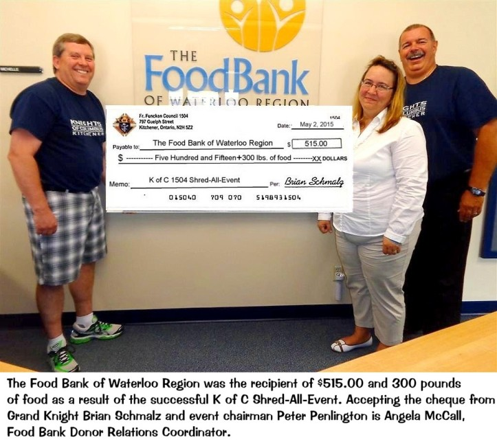 Waterloo Region Food Bank Cheque Presentation 1