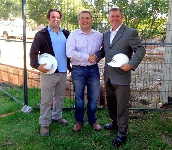 Charity is in action between The House of Friendship and Kitchener Knights of Columbus. While construction continues to expand their Food Bank distribution building and to prevent any interruption in food sharing to the needy, the K of C has donated office and property space to the community's valued agency. Examining construction are (l to r) Colin MacIntosh, Property Services Manager and John Neufeld, Executive Director from The House of Friendship and K of C GK Dave Obermeyer.
