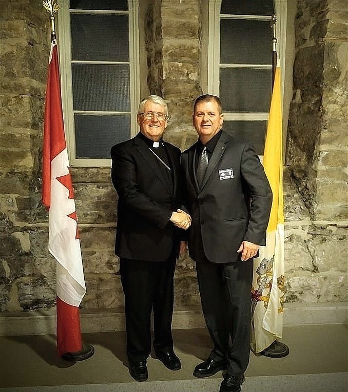 Bishop Douglas Crosby, OMI (L) and Council 1504 GK Dave Obermeyer at the Knights of Columbus Bishop's Charity Dinner, held at The Basilica of Our Lady Immaculate, Guelph.