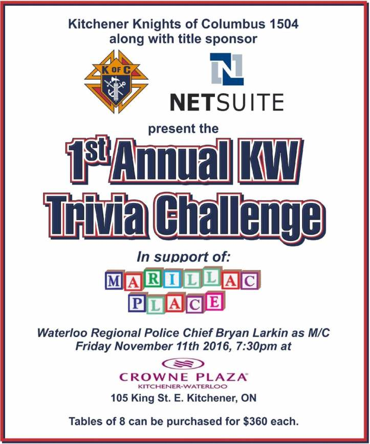 1st Annual KW Trivia Challenge, November 11, 2016 at 7:30 PM