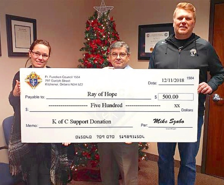 2018 Ray of Hope Cheque Presentation
